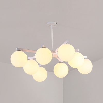 Classic Globe Shade Ceiling Light Frosted Glass 6/8 Lights Black/White Chandelier for Bedroom Living Room