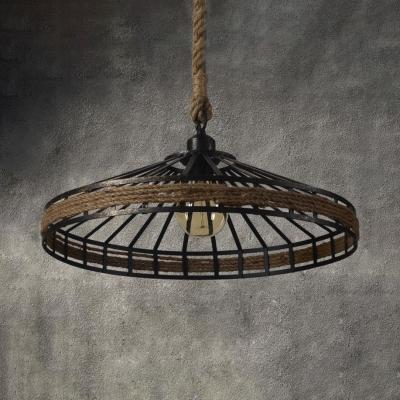 Conical Cage Restaurant Pendant Light Metal & Rope 1 Light American Rustic Pendant Lamp in Beige
