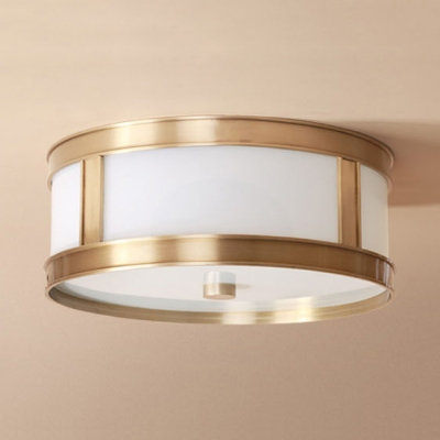 Contemporary Drum Ceiling Light 3/4 Lights Acrylic Flush Mount Light in White for Living Room