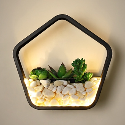 Contemporary Style Wall Light with Plant Stone Decoration Acrylic Sconce Light for Bedroom Living Room