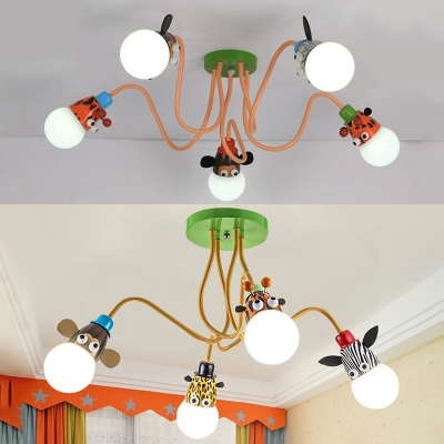 Creative Animal Semi Flush Mount Light Metal 4/5 Lights Colorful Ceiling Lamp for Boy Girl Bedroom