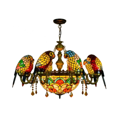 Dome Shade Suspension Light With Parrot 9 Lights Tiffany Style Stained Glass Chandelier For Restaurant Beautifulhalo Com