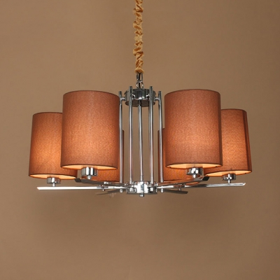 Fabric Cylinder Shade Hanging Light Restaurant 6 Lights Traditional Style Chandelier in Chrome
