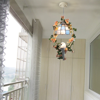 Glass Bowl Hanging Light with Bloom & Bird 1 Light Tiffany Rustic Ceiling Pendant for Balcony