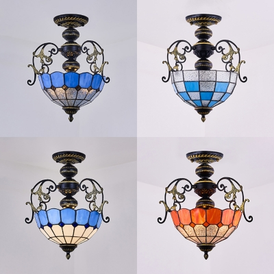 Glass Dome Shade Semi Ceiling Mount Light Bedroom 2 Lights Mediterranean Style Ceiling Lamp