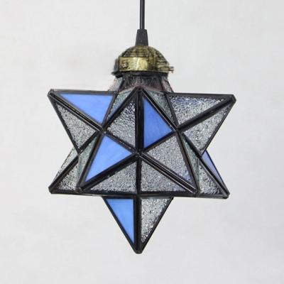 Glass Star Shade Hanging Light 1 Light Creative Pendant Lamp in Dark Blue/Sky Blue/Yellow for Villa