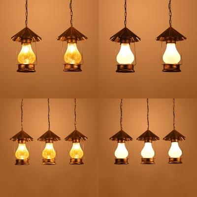 Industrial Kerosene Hanging Lamp 2/3 Lights White/Yellow Glass Pendant Light for Bar Cafe