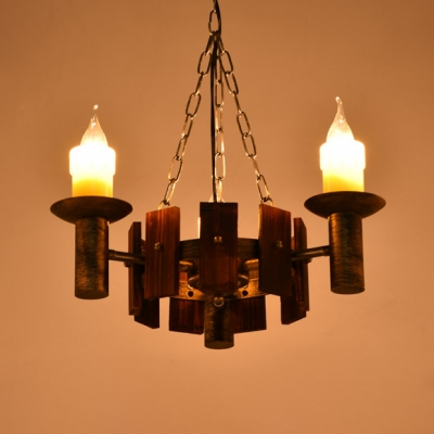 Brass Candle Shape Chandelier 6/9/12 Lights Retro Loft Metal Pendant Lamp for Living Room