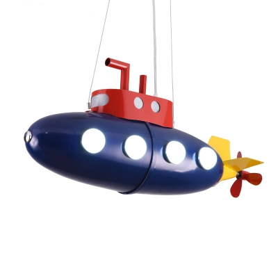 Lovely Cartoon Submarine Suspension Light Metal Dark Blue LED Hanging Lamp for Boy Shop