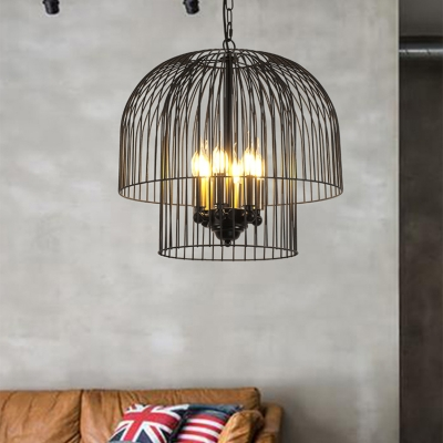 Metal Candle Pendant Light with Wire Frame Foyer Cafe 6 Lights Industrial Chandelier in Black