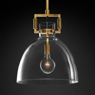 Modern Brass Ceiling Light Dome/Globe/Triangle/Tube 1 Light Clear Glass Pendant Lamp for Hallway