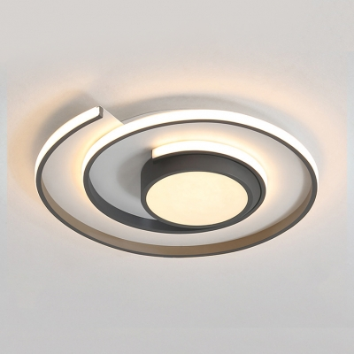 Modern Tape Measure Ceiling Light Acrylic Gray/White LED Flush Mount Light in Warm/White for Living Room