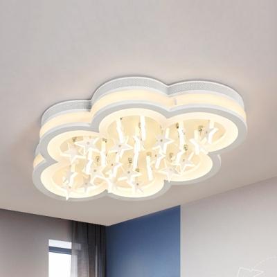 Modern White LED Ceiling Mount Light Cloud & Star Acrylic Third Gear/White Lighting Ceiling Fixture for Kindergarten