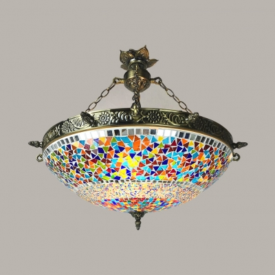 Moroccan Turkish Colorful Chandelier Bowl Shade 3 Lights Stained Glass Hanging Light for Foyer
