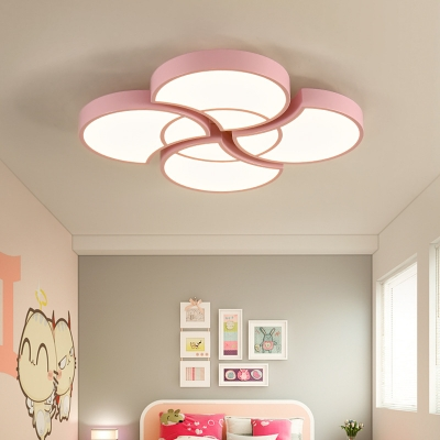 Nordic Flower Flush Mount Light Acrylic Candy Colored LED Ceiling Lamp in Warm/White for Bedroom
