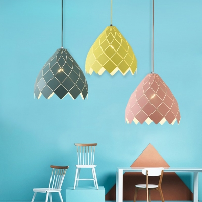 Restaurant Lattice Cone Hanging Light Metal Single Light Contemporary Green/Pink/Yellow Pendant Light