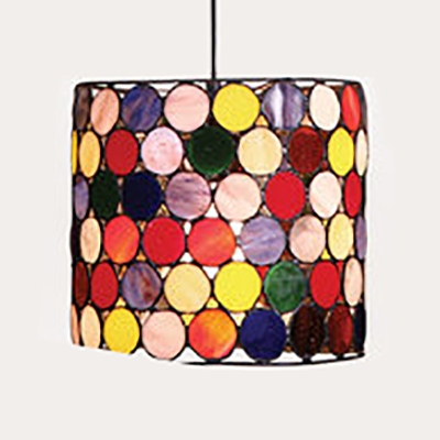 Rustic Small Dot Hanging Light with Cylinder Shade Stained Glass 1 Light Pendant Light for Restaurant