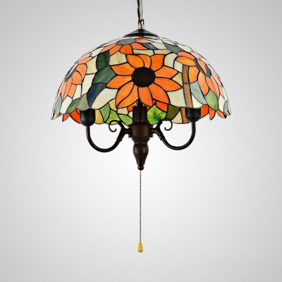 Rustic Sunflower Pendant Lamp Dome Shade Pull Chain Stained Glass 3 Lights Ceiling Light For Hallway Beautifulhalo Com