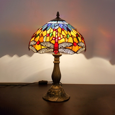 Rustic Tiffany Table Light Dragonfly 1 Head Stained Glass Desk Light with Plug-In Cord for Bedroom