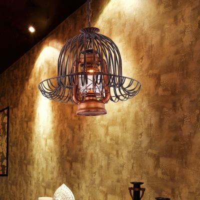 Shop Kerosene Hanging Light with Wire Frame Metal 1 Light Antique Stylish Suspension Light