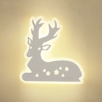 Sika Deer Scone Light Acrylic Lovely LED Wall Lamp in Warm/White for Bedroom Living Room