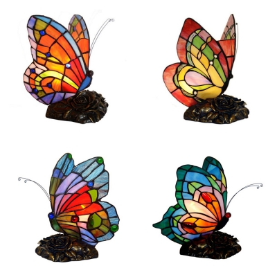 Stained Glass Butterfly Desk Light 1 Head Tiffany Antique Plug-In Table Light with Flower Body