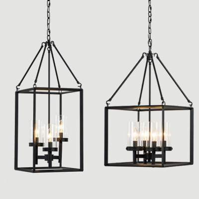 Traditional Candle Suspension Light with Rectangle Cage 3/4 Lights Metal Chandelier in Black for Bar