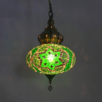 1 Light Oval Shade Pendant Light Moroccan Glass Ceiling Light in Coffee/Green/Gold for Bedroom Pack of 1/3(Random Color Delivery)