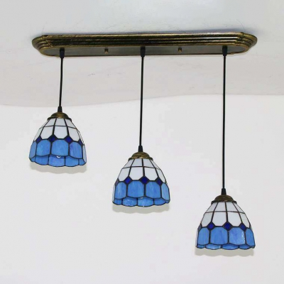 3 Heads Grid Dome Pendant Light Nautical Style Glass Pendant Lamp in Blue for Dining Room
