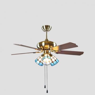 42 Inch Glass Cone LED Ceiling Fan 3/4/5 Lights Vintage Semi Flush Mount Light for Restaurant