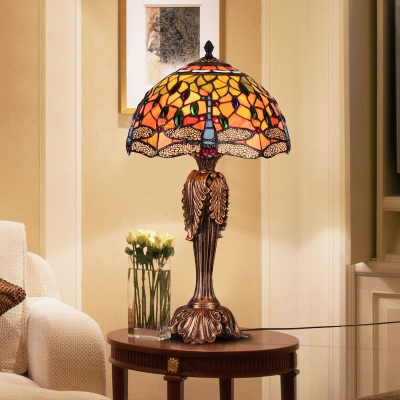Rustic Tiffany Multi-Color Desk Lamp Dragonfly 1 Light Glass Resin Desk Light with Leaf Body for Study Room