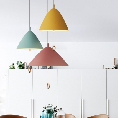 Kid Bedroom Umbrella Shape Ceiling Pendant with Pull Chain Aluminum 1 Light Nordic Blue/Green/Pink/Yellow Hanging Light