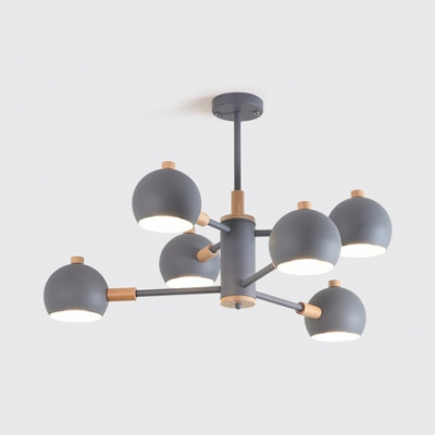 Living Room Metal Modo Chandelier 6/8/10 Light with Nature Rubber Wood