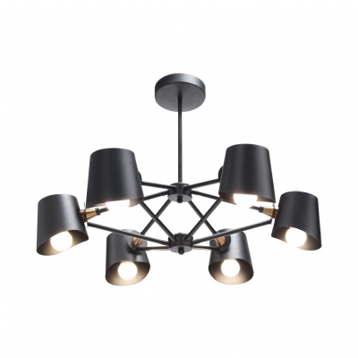 Nodic Style Living Room Hanging Light Fixture 6 Light Metal Chandelier in Black Painted Finish