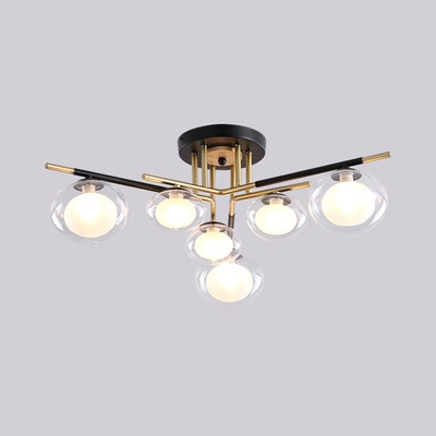 Living Room Oval Semi Flush Mount Light Glass 6/8/10 Lights Contemporary Ceiling Lamp