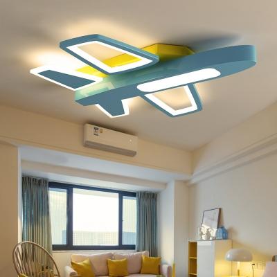 Acrylic Cartoon Airplane Ceiling Lamp Boy Bedroom Creative Blue/White LED Flush Ceiling Light in Warm/White