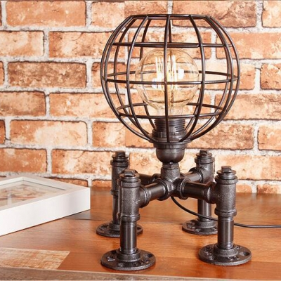 Antique Globe Wire Frame Table Light Metal 1 Light 2 Color Choice Desk Lamp for Study Room