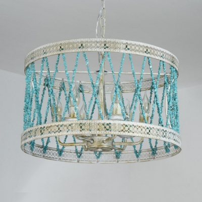 Blue Drum Shade Hanging Lamp 4/6 Lights Nordic Style Little Stone Chandelier for Bedroom