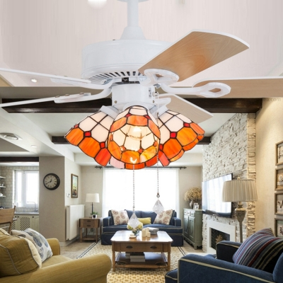 Blue/Orange Dome LED Ceiling Fan 4 Lights Tiffany Glass Ceiling Light for Hotel Restaurant
