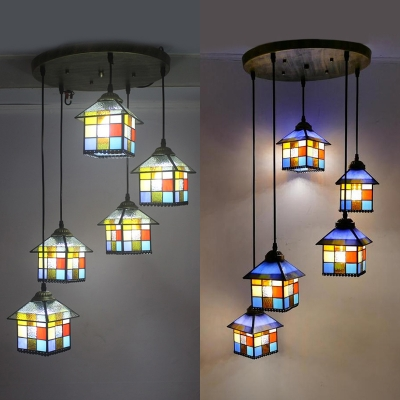 Colorful House Shade Hanging Lamp 5 Heads Tiffany Rustic Stylish Glass Pendant Light for Hotel