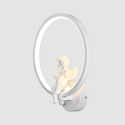 Euro Style Ring Wall Light 1 Light Metal Black/White Wall Sconce in Warm for Adult Child Bedroom