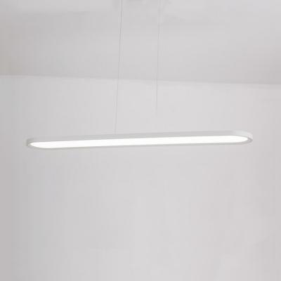 Eye-Caring Linear Suspension Light Black/White LED Ceiling Light in Neutral/White for Library Mall