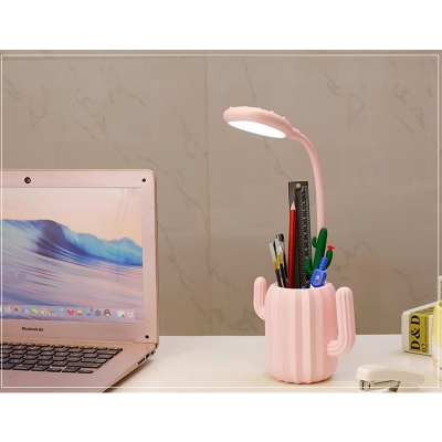 Flexible Neck Cactus Desk Light Dormitory 1 Head Lovely Switch Control LED Study Light in Blue/Green/Pink