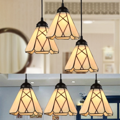 Glass Grid Cone Pendant Lamp 3 Lights Antique Style Suspension Light in Beige for Dining Table