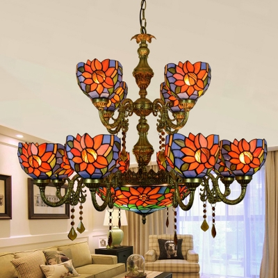 Hotel Villa Flower Chandelier Stained Glass 15 Lights Tiffany Style Rustic Hanging Light with Crystal