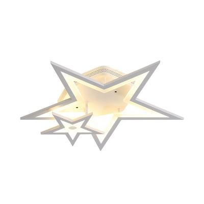 Kid Bedroom Star Semi Flush Mount Light Metal Cartoon Warm/White Lighting LED Ceiling Lamp