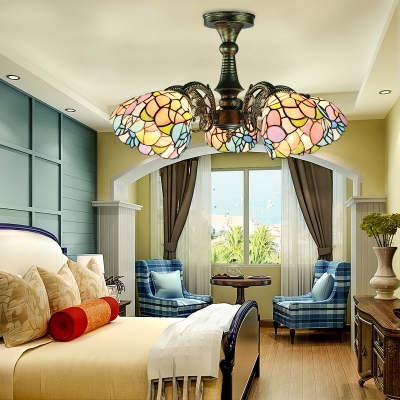 Leaf/Peacock Tail/Flower Semi Ceiling Mount Light Tiffany Style Glass 5 Heads Ceiling Light for Bedroom