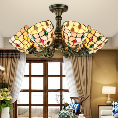 Leaf/Peacock Tail/Flower Semi Flush Light Tiffany Style 8 Lights Stained Glass Ceiling Fixture for Living Room