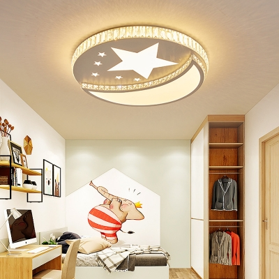 Lovely Star Moon Flush Mount Light White Lighting Acrylic LED Ceiling Light with Crystal for Kindergerten