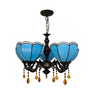 Mediterranean Style Bowl Chandelier Glass 5 Lights Blue Hanging Light with Crystal for Cafe